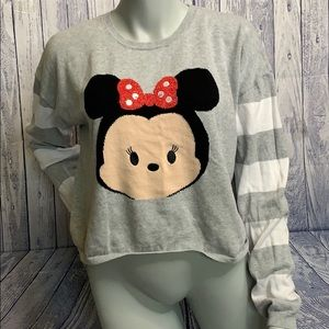 Disney Minnie Tsum Tsum Grey Cropped Sweater, XL